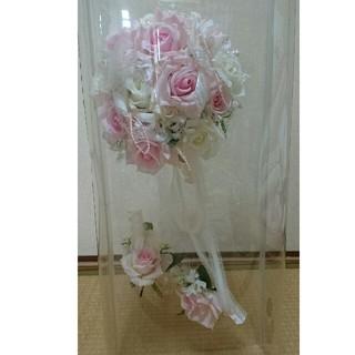 ブーケ ブートニア ウエディング 造花 挙式 ピンク ホワイト バラ(ブーケ)