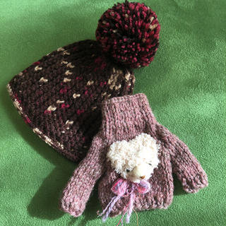 ブライス クマさんセーター&チョコ色ニット帽子(その他)