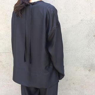ドゥロワー(Drawer)の新品 BLAMINK ブラミンク シルクブラウス ブラック(シャツ/ブラウス(長袖/七分))