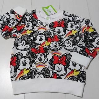 ディズニー(Disney)の新品タグ付きミッキーミニー総柄薄手トレーナー95センチ(Tシャツ/カットソー)