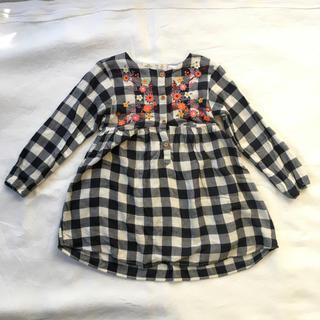 ザラキッズ(ZARA KIDS)の【専用】Zara Baby Girl ブロックチェック 刺繍 ワンピース(ワンピース)