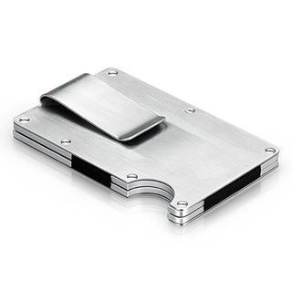 マネークリップ付 クレジットカードケース 磁気防止 ステンレス 12枚収納
