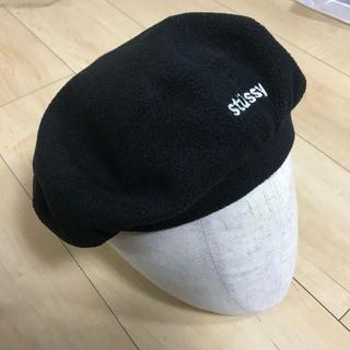 ステューシー(STUSSY)のstussy ベレー帽 黒  キャップ ニット帽(ハンチング/ベレー帽)