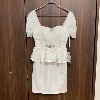 未使用新品タグ付きタイトミニドレス♡ホワイト♡Lサイズ若干難あり(ミニドレス)