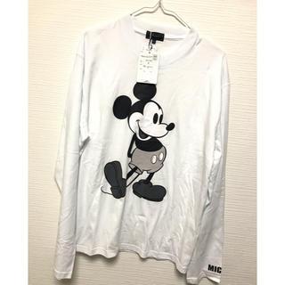 ディズニー(Disney)のミッキーマウス、mickey、白T.ロンT.長袖、メンズサイズM、新品(Tシャツ/カットソー(七分/長袖))