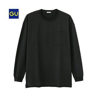 ジーユー(GU)のジーユーGUポンチビッグT(長袖)S ブラック (Tシャツ/カットソー(七分/長袖))