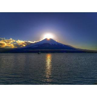 世界遺産 富士山 写真 ダイヤモンド富士 A4又は2L版 額付き(アート/写真)