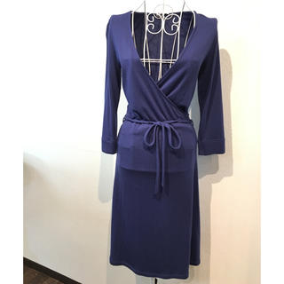 ユニクロ(UNIQLO)のユニクロ 腰紐付き 羽織りデザイン ニットワンピース ブルー(ロングワンピース/マキシワンピース)