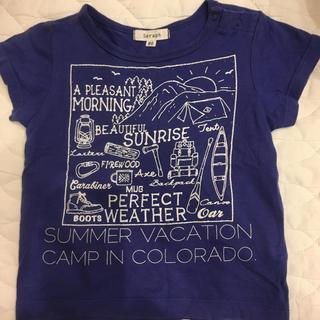 エフオーキッズ(F.O.KIDS)のFO kids アウトドア柄Tシャツ肩ボタンつき80サイズ(Tシャツ)
