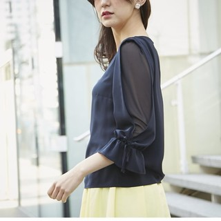 美品トッコクローゼットtocco closet袖透けお嬢様ブラウス紺ネイビー
