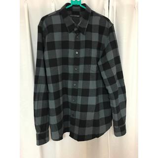 テットオム(TETE HOMME)の新品 Black on テットオム LLサイズ ネルシャツ 濃灰×黒 綿100%(シャツ)