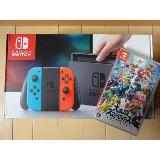 ニンテンドースイッチ(Nintendo Switch)の限定!新品 Nintendo Switch本体&大乱闘スマブラソフト特別セット(家庭用ゲーム本体)