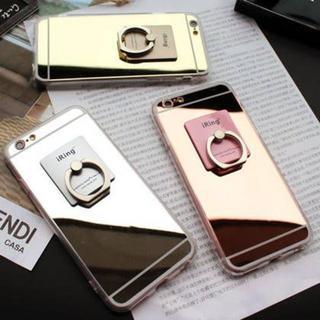 新品 iPhoneケース リング付き ミラー  スマホケース アイフォンケース(iPhoneケース)