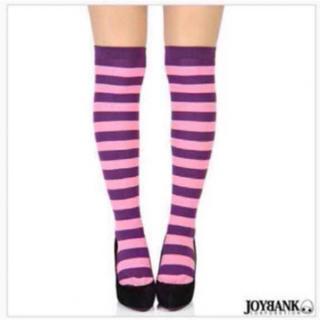 チシャ猫カラー ボーダーニーハイソックスオーバーニー/靴下(衣装一式)
