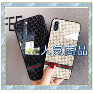 ベージュ★iPhone 7/8plus スマホケース モノグラム柄 鏡面(iPhoneケース)