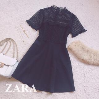 ザラ(ZARA)のZARA [レースワンピース] ブラックドレス M(ミニワンピース)