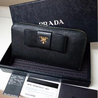 プラダ(PRADA)の正規品♡最安値♡プラダ ラウンド財布 黒 リボン サフィアーノレザー バッグ(財布)