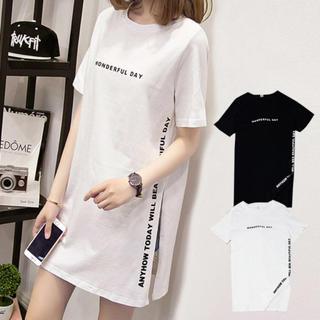 ディーホリック(dholic)のVIVID LADY サイドスリットTシャツミニワンピ(Tシャツ(半袖/袖なし))