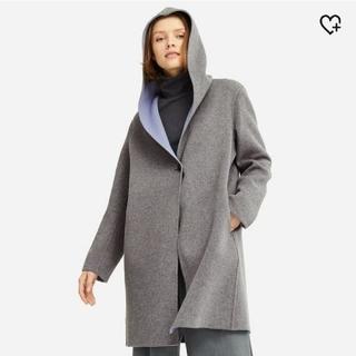 ユニクロ(UNIQLO)のユニクロ ダブルフェイスフーデットコート L  未使用 ベージュ コート 羽織り(ガウンコート)