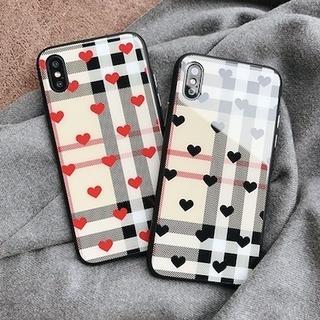 ハート チェック 美光沢 iPhoneケース黒 赤 アイフォン(iPhoneケース)