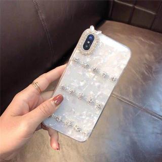 12 シェル柄 パステルカラー キラキラ ラインストーン 貝柄 アイフォン(iPhoneケース)