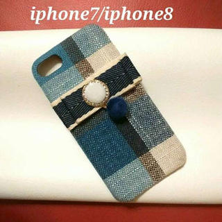 ◆可愛いチェック、ブルー 青系☆ iphone7/iphone8 ケース◆(iPhoneケース)