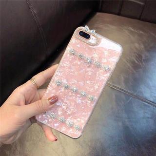 13 シェル柄 パステルカラー キラキラ ラインストーン 貝柄 アイフォン(iPhoneケース)