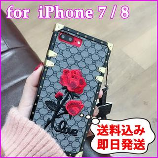 【iPhone 8】グレー スクエアデザイン バラ 刺繍 モノグラム(iPhoneケース)