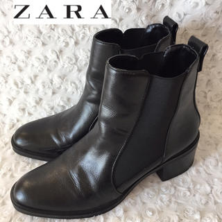ザラ(ZARA)のZARA ザラ レザーサイドゴアブーツ(ブーツ)