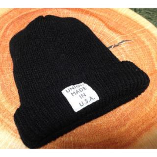 ジーユー(GU)のGU ニット帽 キャップ ブラック(ニット帽/ビーニー)