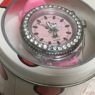 ミニーマウス☆光る腕時計 キラキラ ピンク 缶入り(キャラクターグッズ)