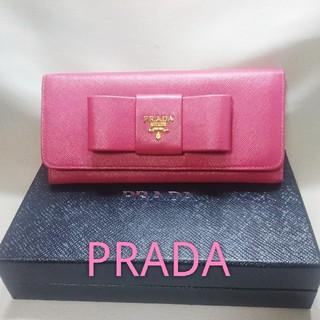 プラダ(PRADA)の✨極美品✨かわいい人気❤️PRADA サフィアーノ リボン 折り長財布❤️(財布)
