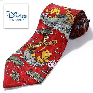 ディズニー(Disney)の極美品 Disney ディズニー シルクネクタイ プーさん ティガー レッド 特(ネクタイ)