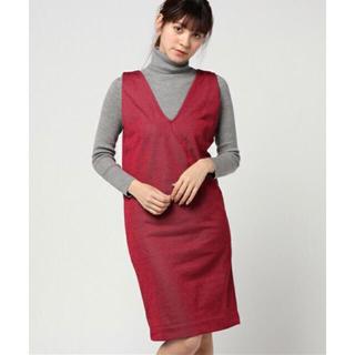 ローズバッド(ROSE BUD)の新品未使用定価10584円。今季流行ボルドーバックレースアップジャンパースカート(ひざ丈ワンピース)