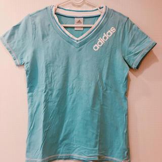 アディダス(adidas)の新品同様 adidas 半袖 ティーシャツ ブルー 白 ブランド スポーツウェア(Tシャツ(半袖/袖なし))