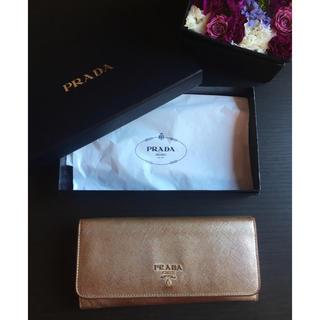 プラダ(PRADA)のPRADA/プラダ/サフィアーノ レザー/二つ折り/長財布/ゴールド 正規品 箱(財布)