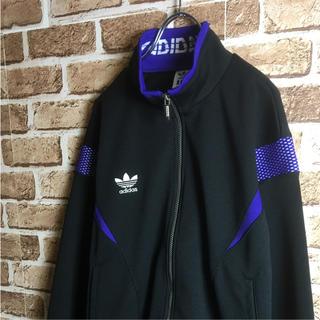 アディダス(adidas)のカッコいい! 90s adidas トラックトップ ジャージ ロゴ 黒 紫 L(ジャージ)