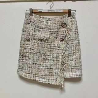 ZARA - ビジュー付きツイードスカート
