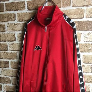 カッパ(Kappa)の90s Kappa トラックトップ ジャージ サイドライン ロゴ 赤 黒 白 L(ジャージ)