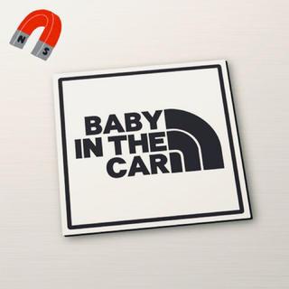 【マグネット】BABY IN CAR:レインボー角デザインWH/BK