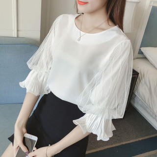 韓国ファッション ホーンスリーブ レース ブラウス 半袖シフォンシャツ(シャツ/ブラウス(半袖/袖なし))