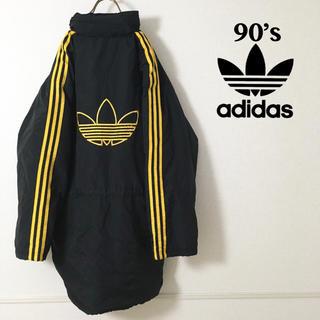 アディダス(adidas)の海外規格  90's adidas ビッグ刺繍ロゴ 厚手ナイロンジャケット(ナイロンジャケット)