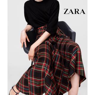 ザラ(ZARA)の【未使用】ZARA♡チェック柄ベルト付きロングスカート(ロングスカート)
