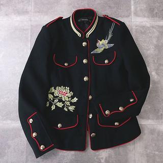 ザラ(ZARA)のZARA ザラ 花鳥刺繍◎制服タイプ ジャケット 黒(テーラードジャケット)
