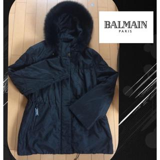 バルマン(BALMAIN)のBALMAIN シルク100% ファー付きクラシカルコート(毛皮/ファーコート)