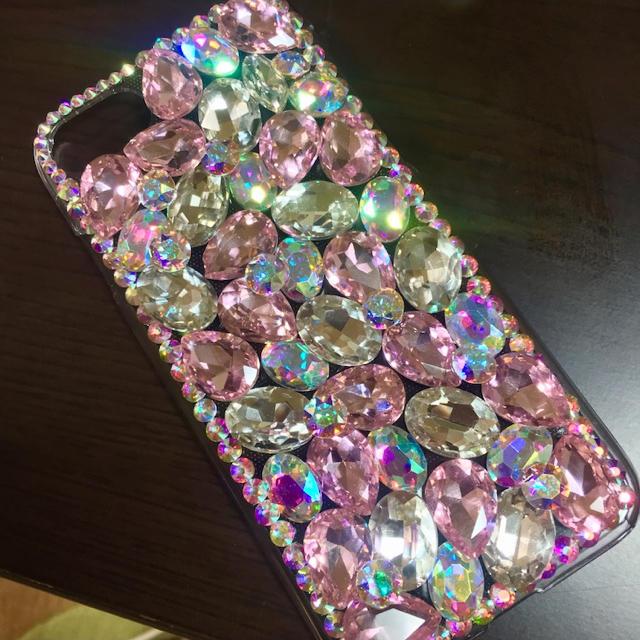かわいい iphone7 ケース jmeiオリジナルフリップケース | キラキラガラスビジュー スワロフスキーiphone ケース カバーの通販 by デコショップ  雅|ラクマ