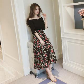 ドレス 半袖 Tシャツ ツーピース 花柄 スカート おしゃれ!(シャツ/ブラウス(半袖/袖なし))
