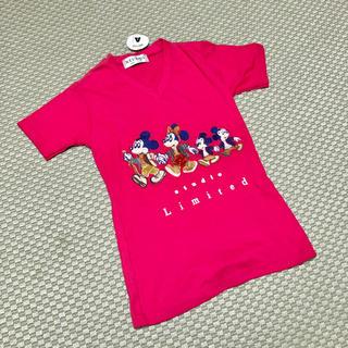 ディズニー(Disney)の新品!▪️ミッキーミニー ヴィンテージ風刺繍Tシャツ ▪️pink(Tシャツ(半袖/袖なし))