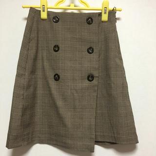 ジーユー(GU)のGU チェックスカート ブラウン(ひざ丈スカート)