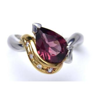 プラチナ K18 ガーネット ダイヤモンド リング(リング(指輪))